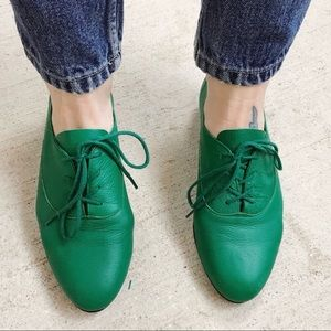 American Apparel bright green leather Oxford shoes